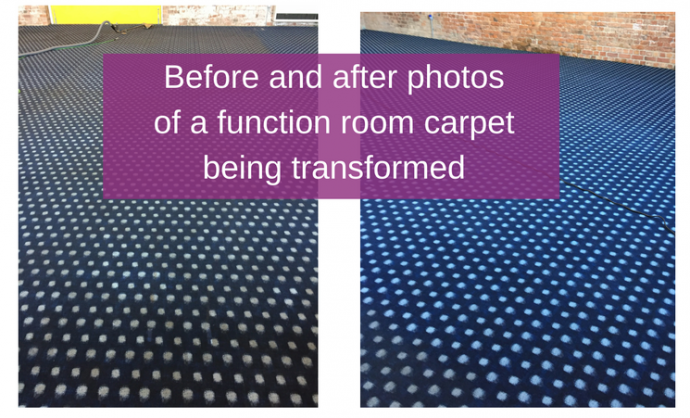 Before and after photos of a function room carpet being transformed
