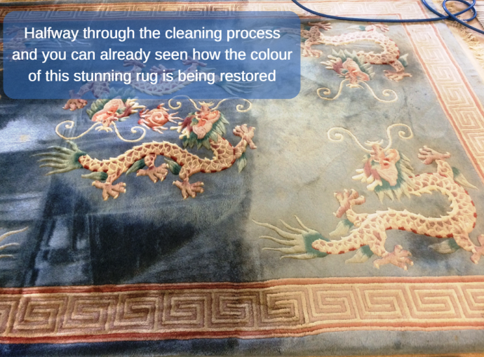 Clean fresh rugs from A&G Chem-Dry - part way through the cleaning
