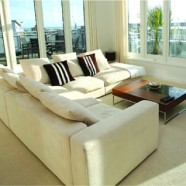 Pale fabric sofa unit