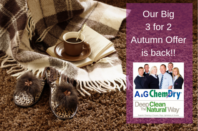 Carpet Cleaning Nottingham - 2018 Autumn Offer - A&G Chem-Dry - 3 for 2 Offer