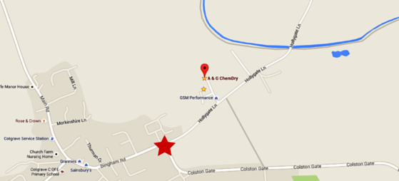 Map showing roadworks on Hollygate Lane junction