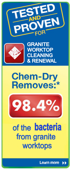 A&G Chem-Dry removes 98.4 percent of the bacteria from granite worktops