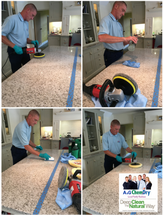 Four stages of A&G Chem-Dry's Granite Clean Service