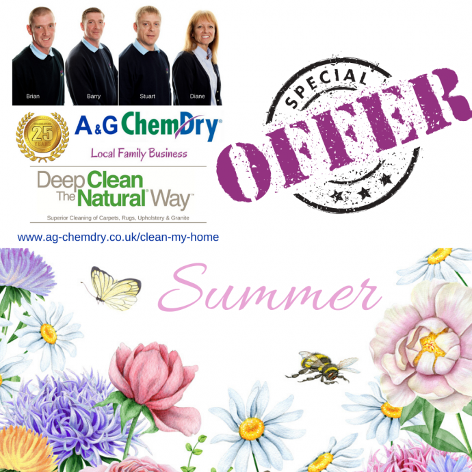 A&G Chem-Dry Summer Offer 2020 Carpet Upholstery and Rug Cleaning Deep Clean The Natural Way