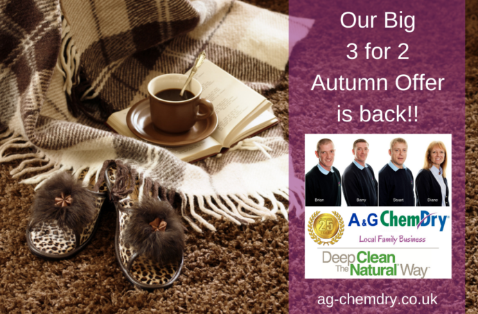 A&G Chem-Dry Autumn 3 for 2 Offer Carpet and Upholstery Cleaning